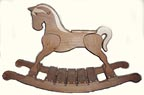 Classic Handcrafted Wooden Rocking Horses : Alder, light contrast veneer in bare wood finish