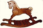 Classic Handcrafted Wooden Rocking Horses : Alder, heirloom finish with light contrasting veneer